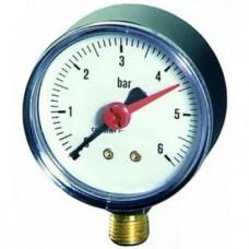 Манометр для компрессора, радиальный, резьба 1/4, радиальный 6 bar